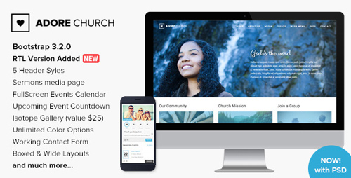 ThemeForest - Adore Church v1.3 - Responsive HTML5 Template - 9102049